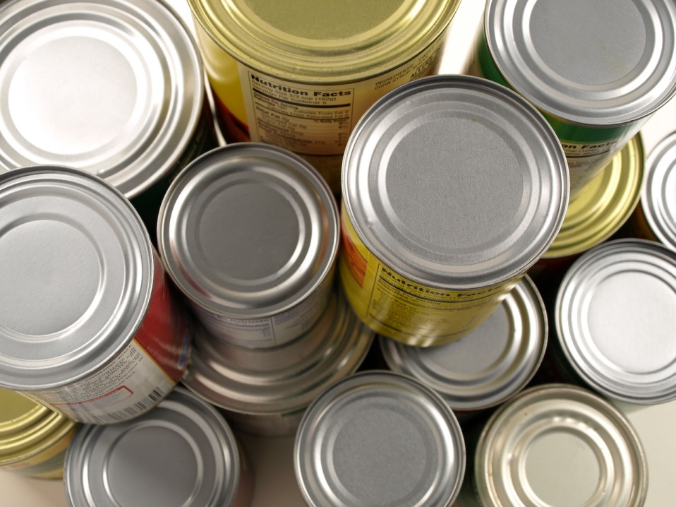 Overhead View of Stacked Cans of Food