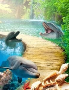 A picture of 3d epoxy flooring with dolphins in water, a waterfall, seashells, and a wooden path.